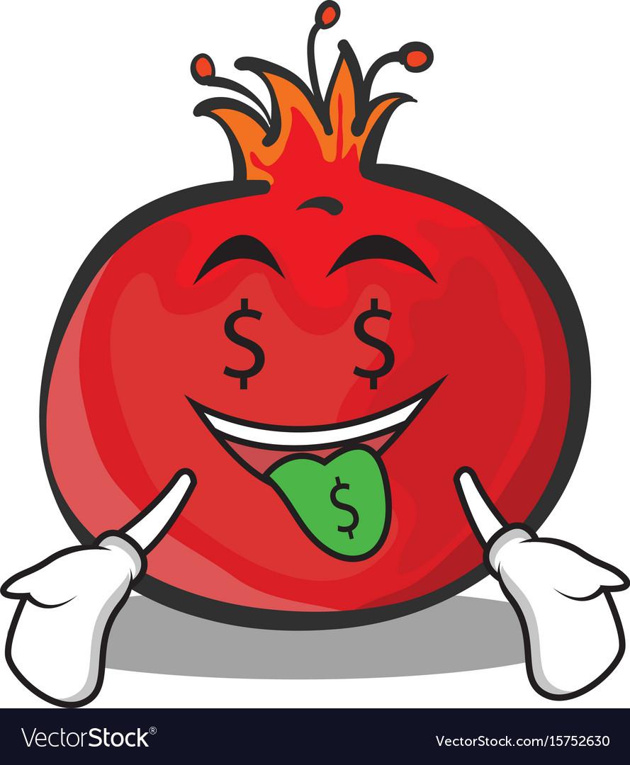 Money mouth pomegranate cartoon character style