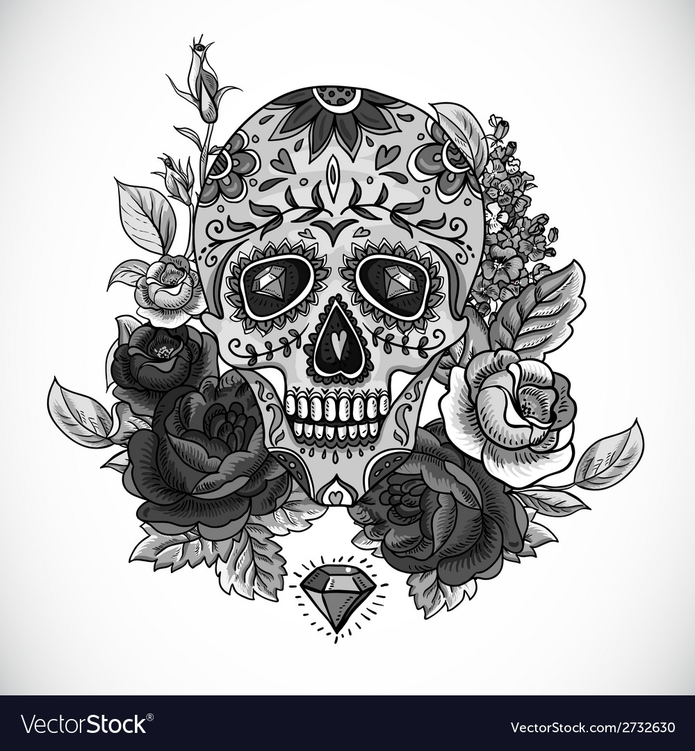 Monochrome Skull diamond and Flowers Card