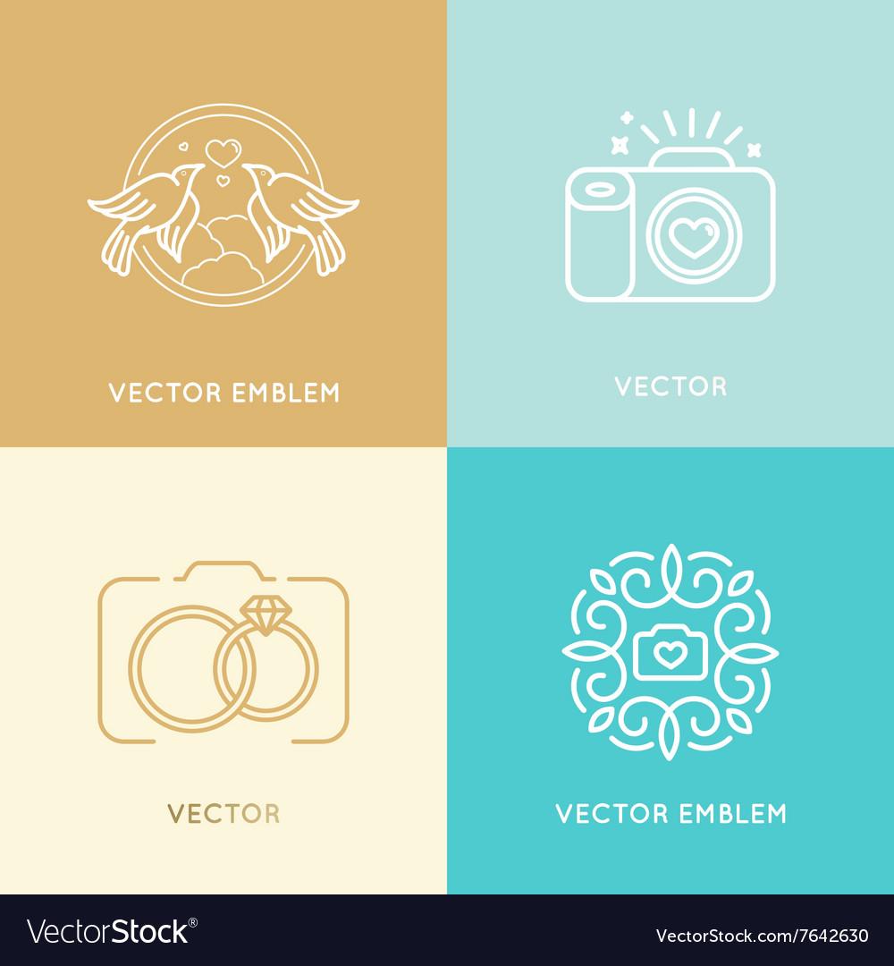 Set Wedding Photography Logo Design Templates Vector Image
