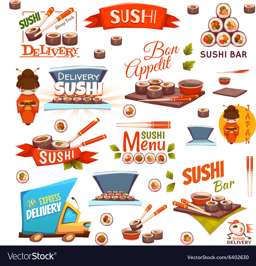 Set with sushi banners icons logo and