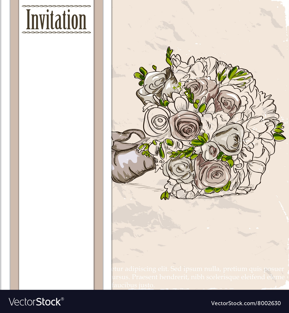 Vintage card with wedding bouquet
