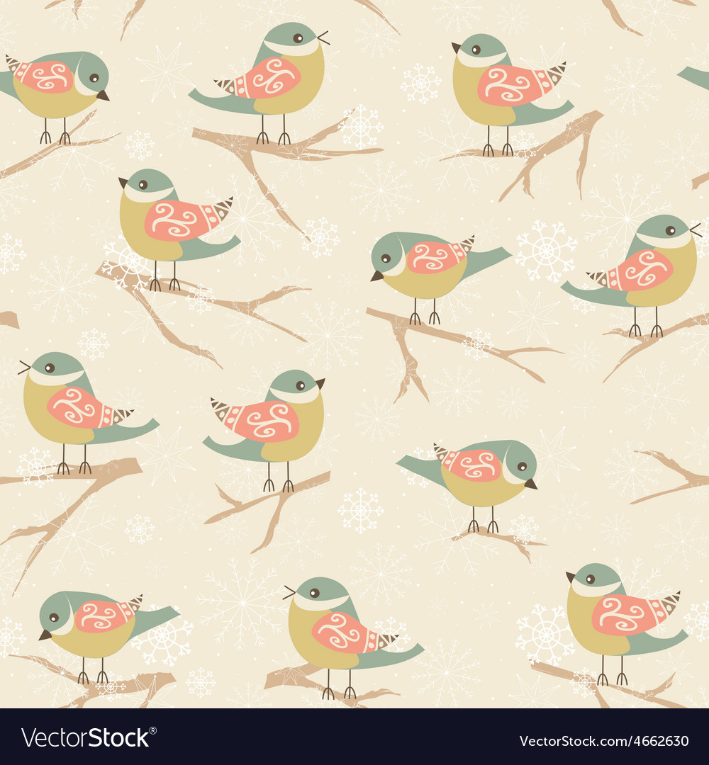 Winter background with birds