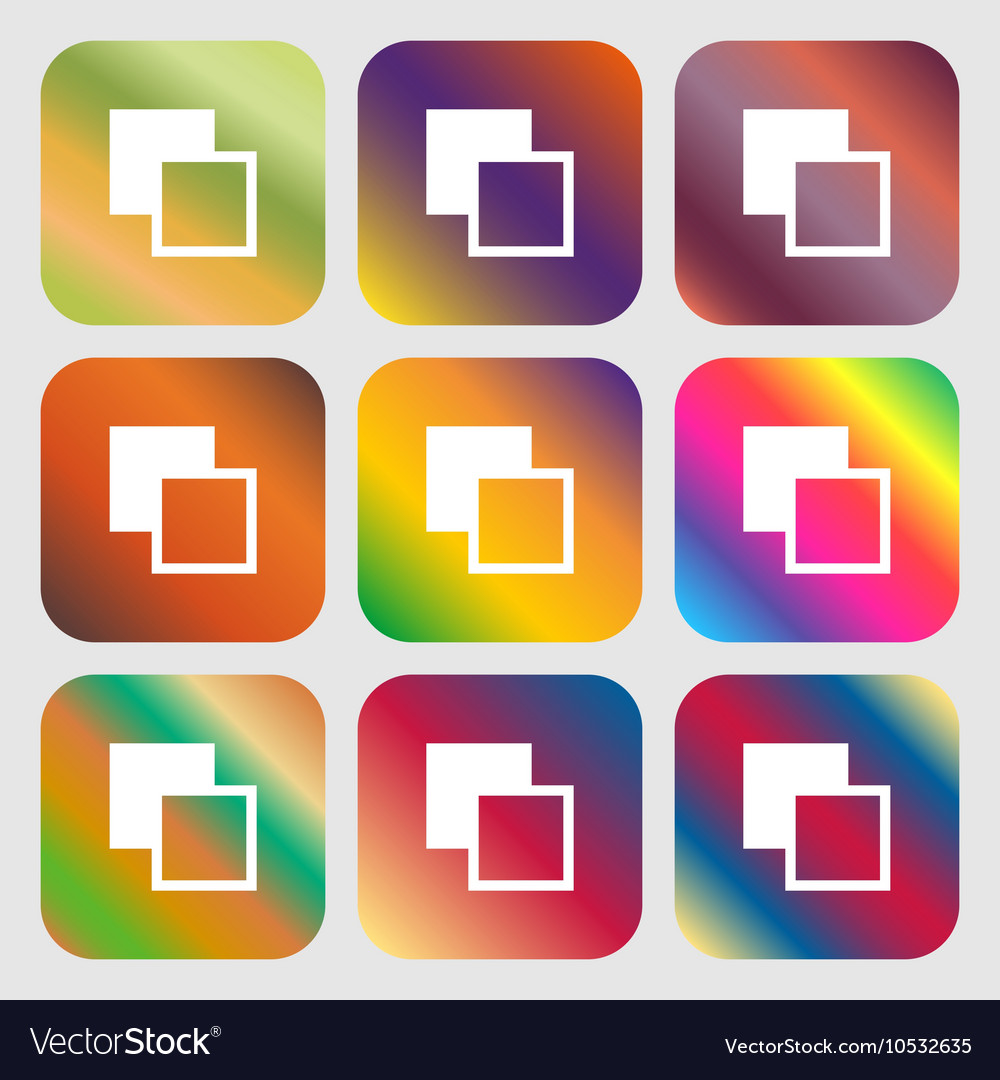 Active color toolbar icon Nine buttons with bright