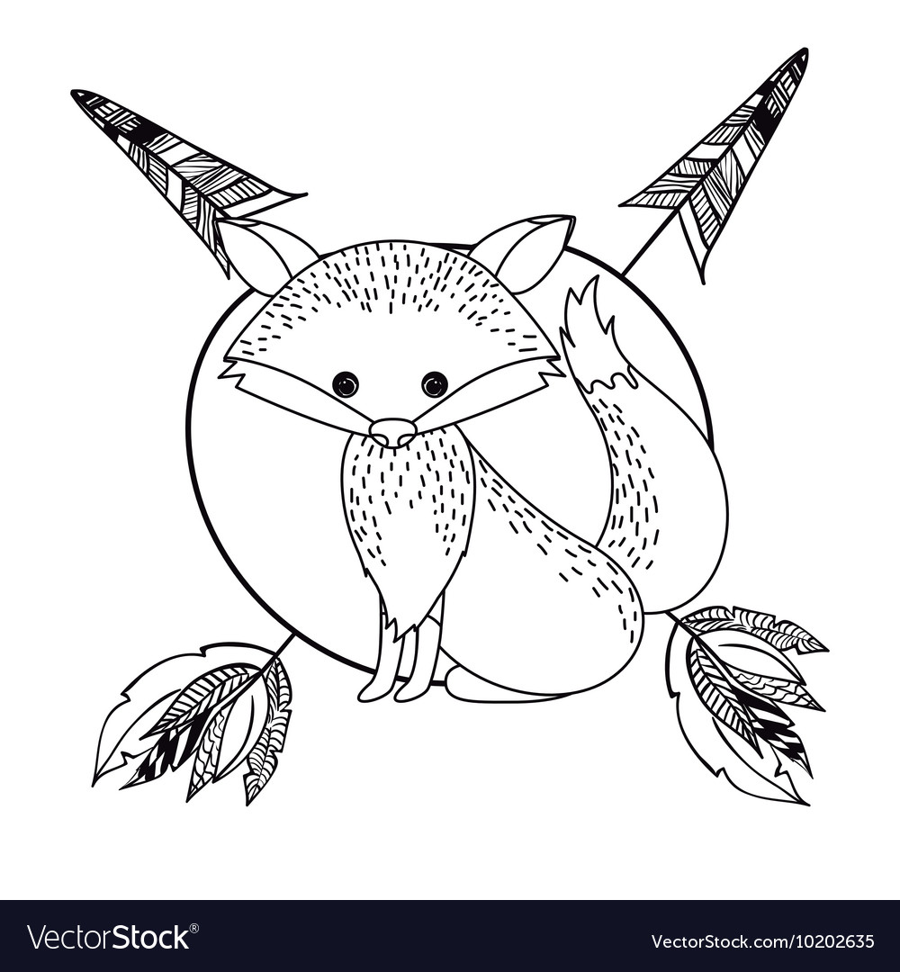 Animal drawing style boho icon