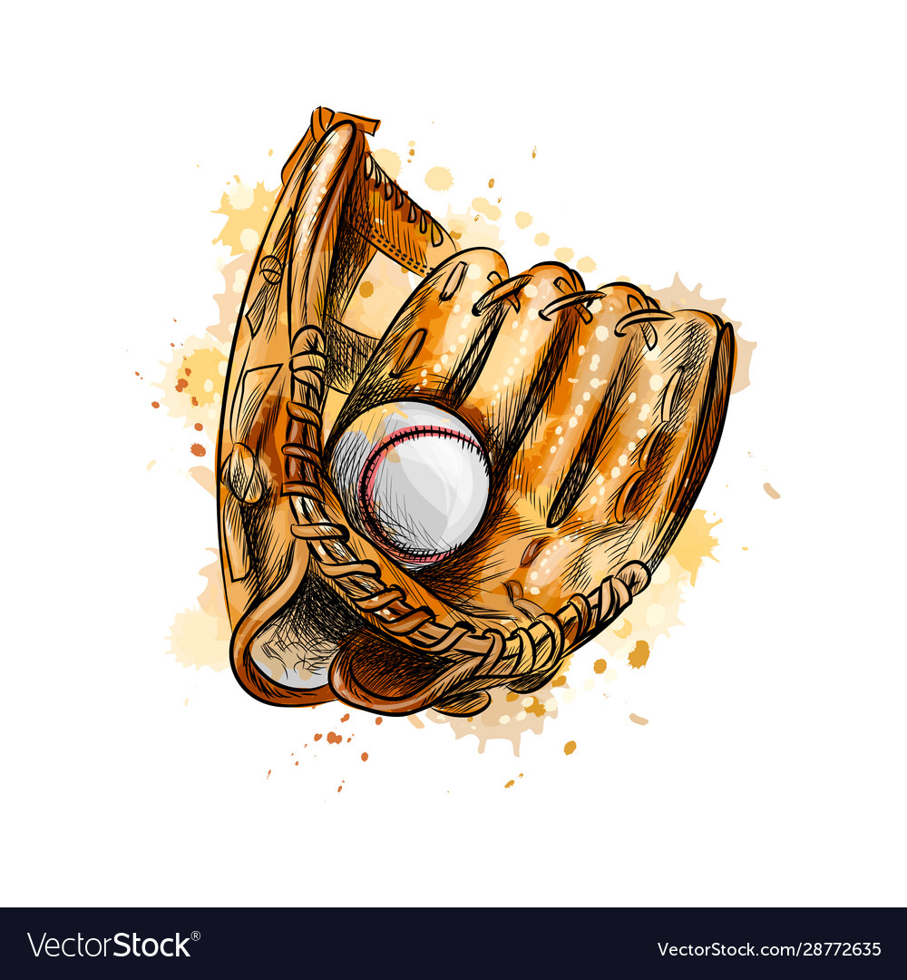 Baseball glove with ball from a splash of