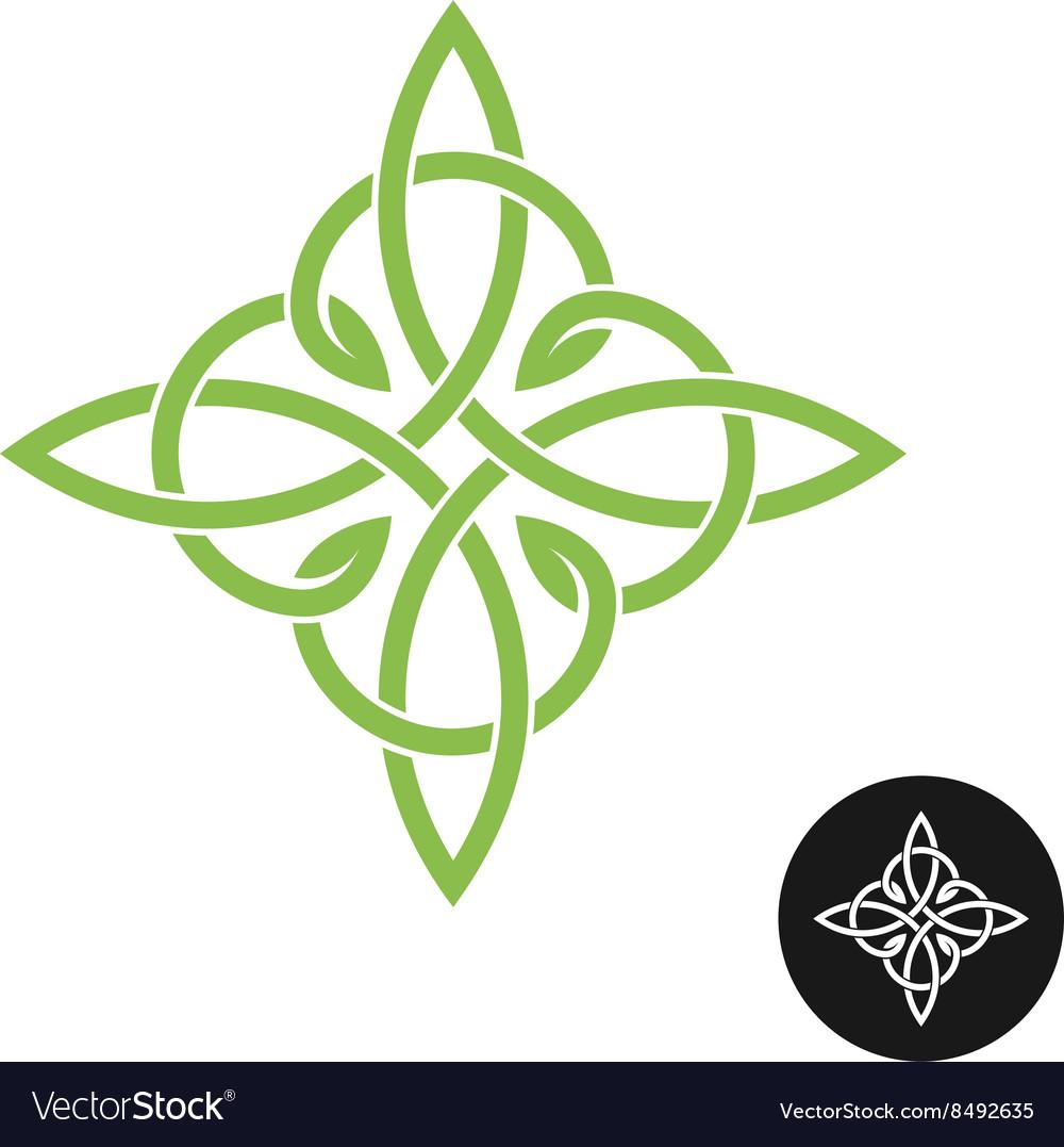 Celtic knots elegant weave cross logo Mono line