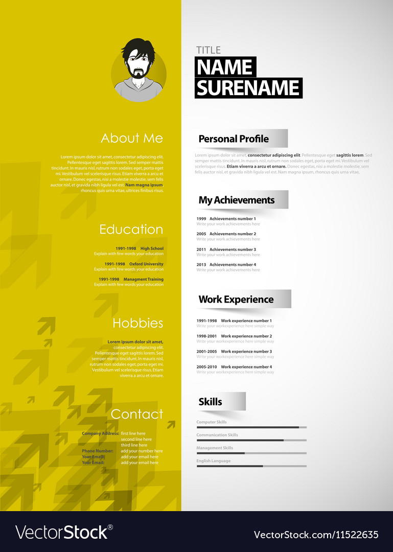 Creative Curriculum Vitae Template With Yellow Vector Image