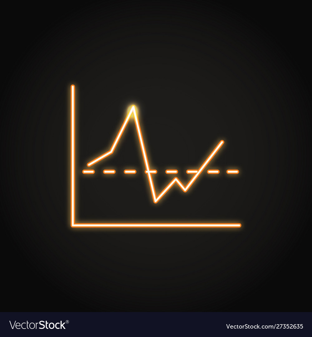 Invest report graph icon in neon line style