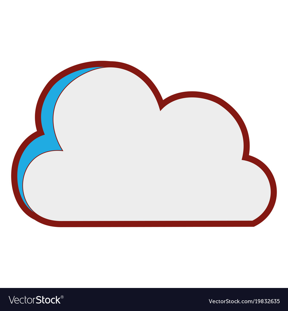 Line color nice cloud nature weather icon vector image