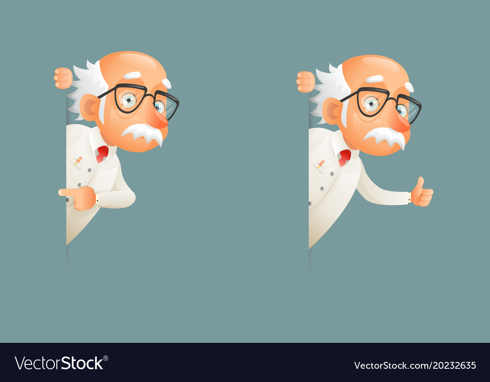 Old wise scientist character look out corner icons