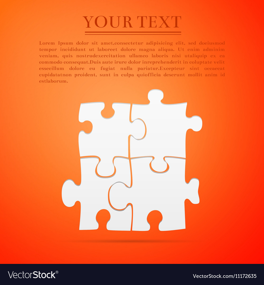 Puzzles flat icon on orange background Adobe vector image