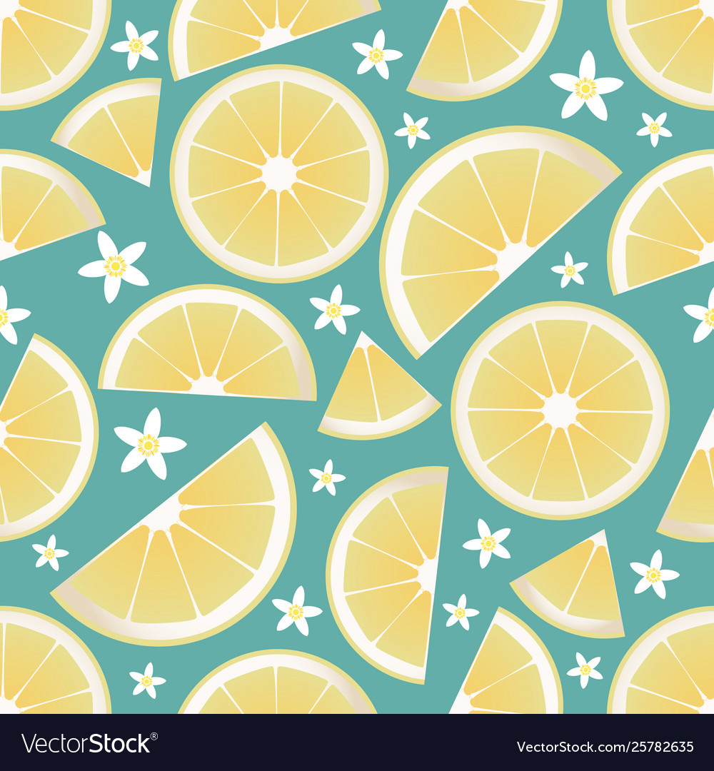 Seamless pattern lemon slices and orange vector