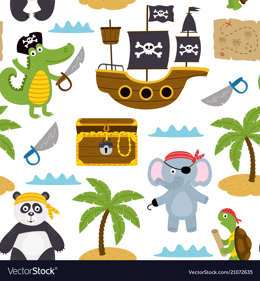 Seamless pattern with pirates animals