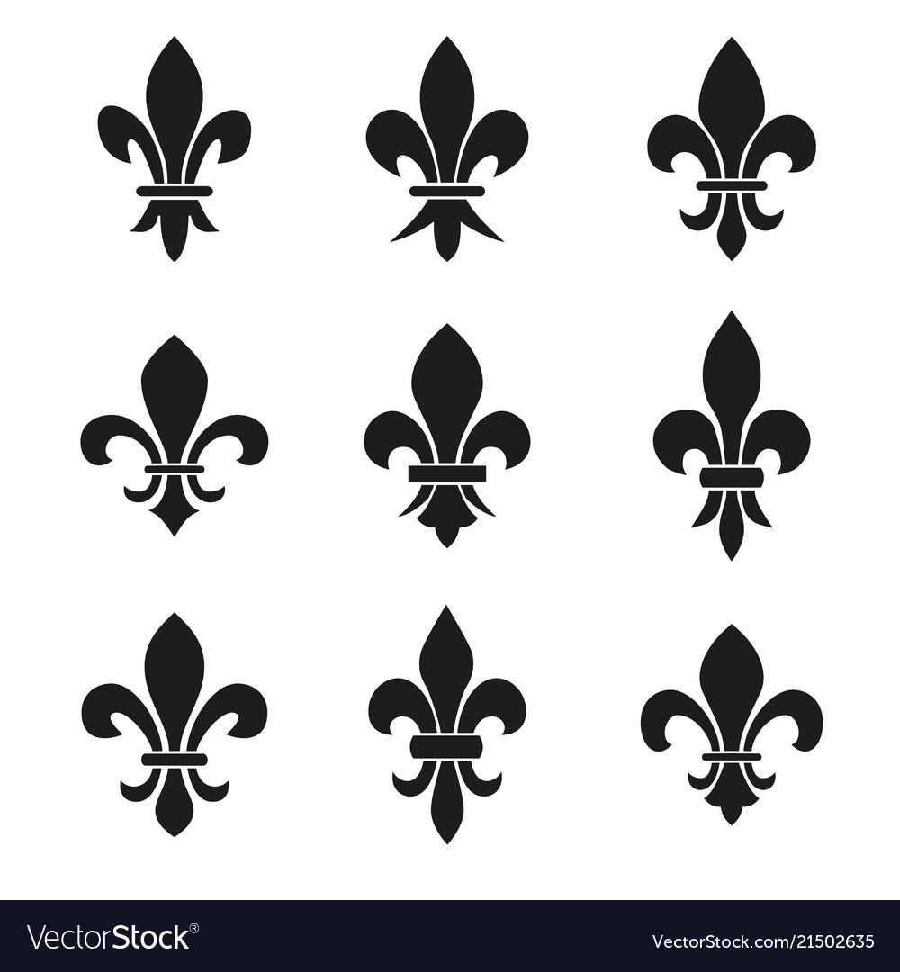 Set emblems fleur de lys symbols