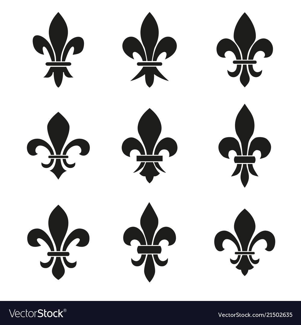 Set Of Emblems Fleur De Lys Symbols Royalty Free Vector