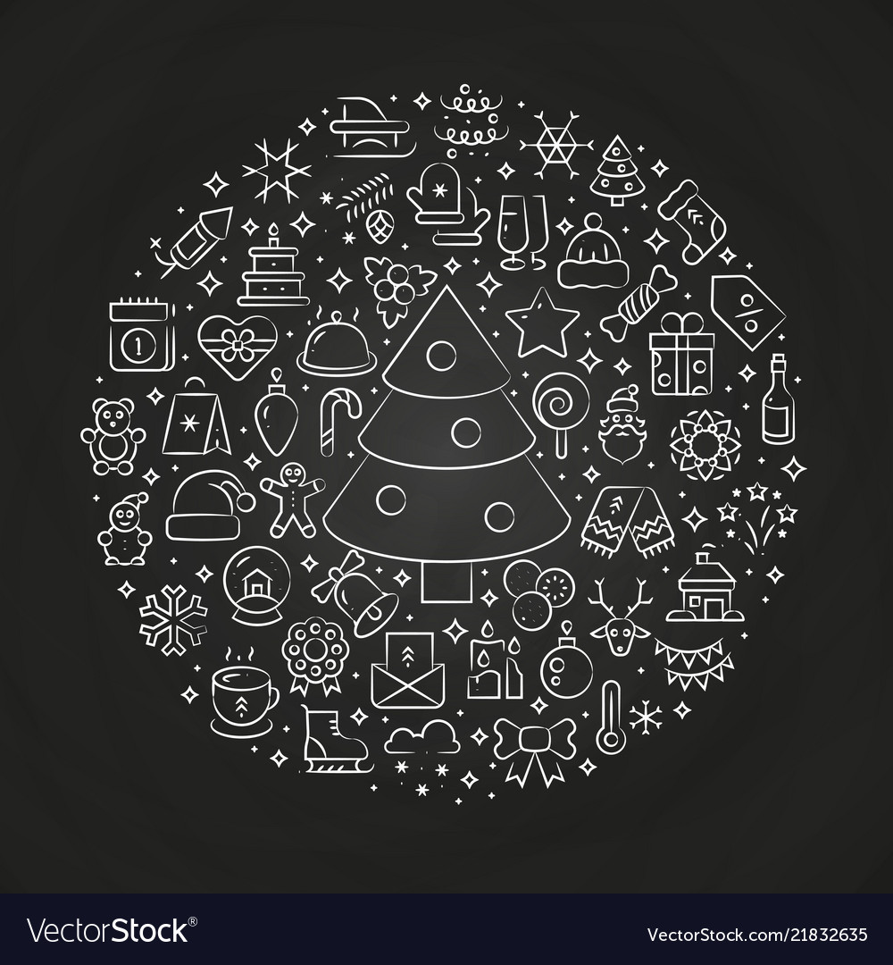 Thin line christmas art icons in ball