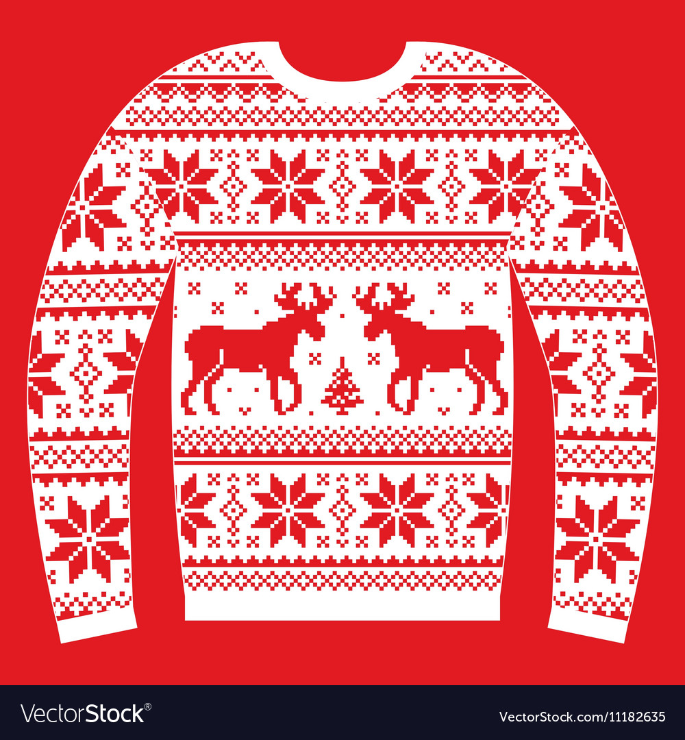 Ugly Christmas Sweater Design.Ugly Christmas Jumper Or Sweater With Reindeer And