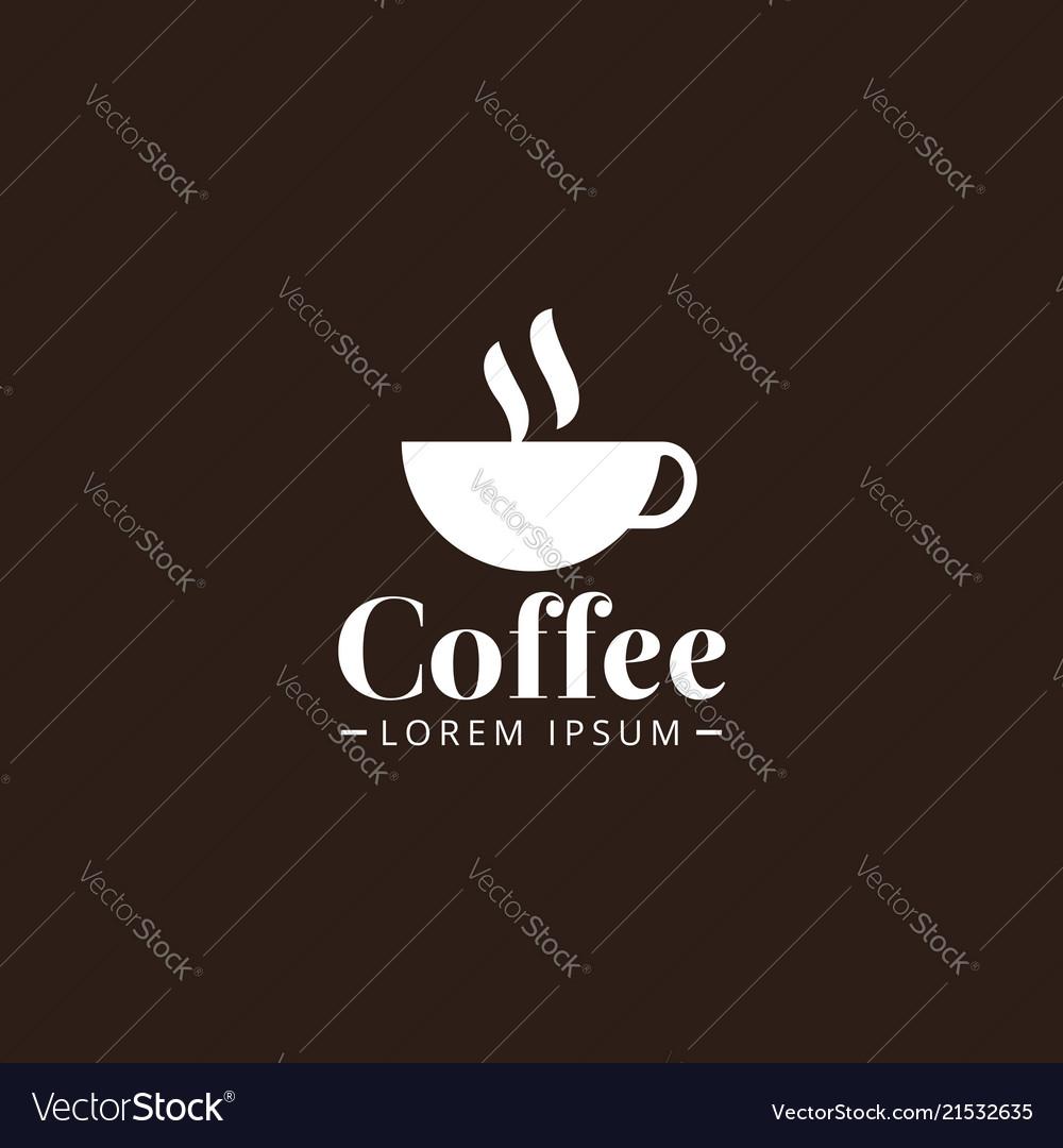 White color coffee cup logo design template