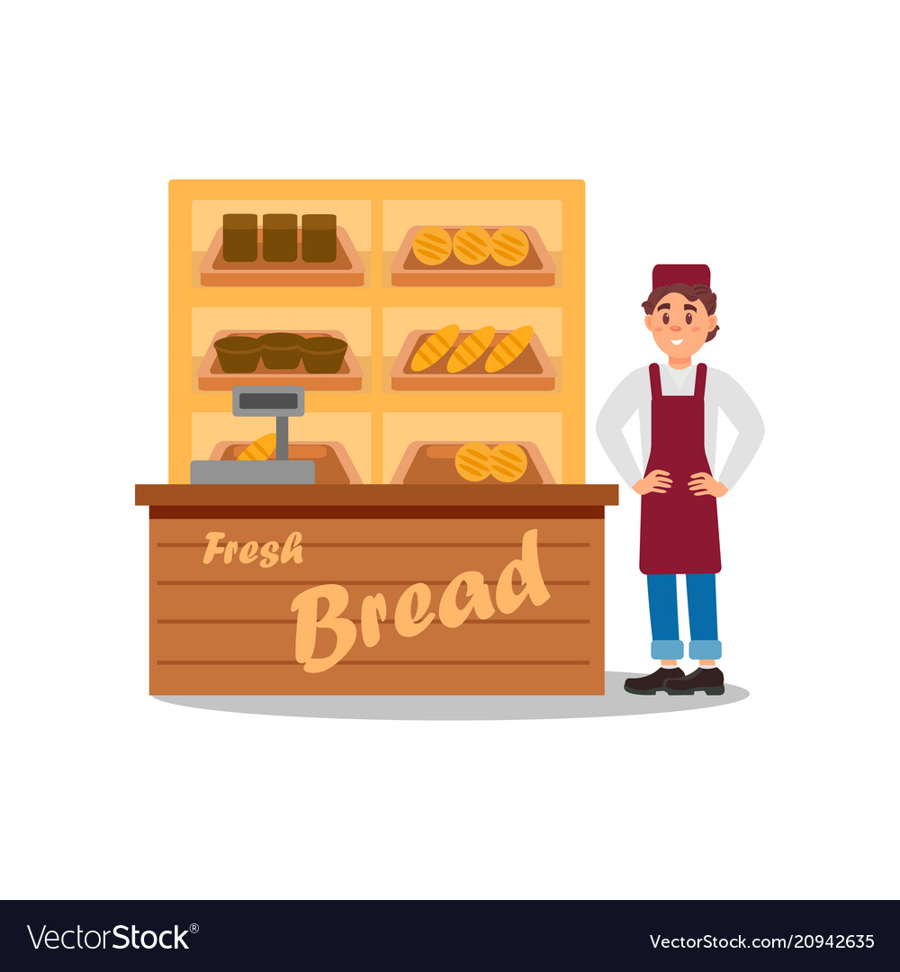 Young smiling man selling bread fresh products on