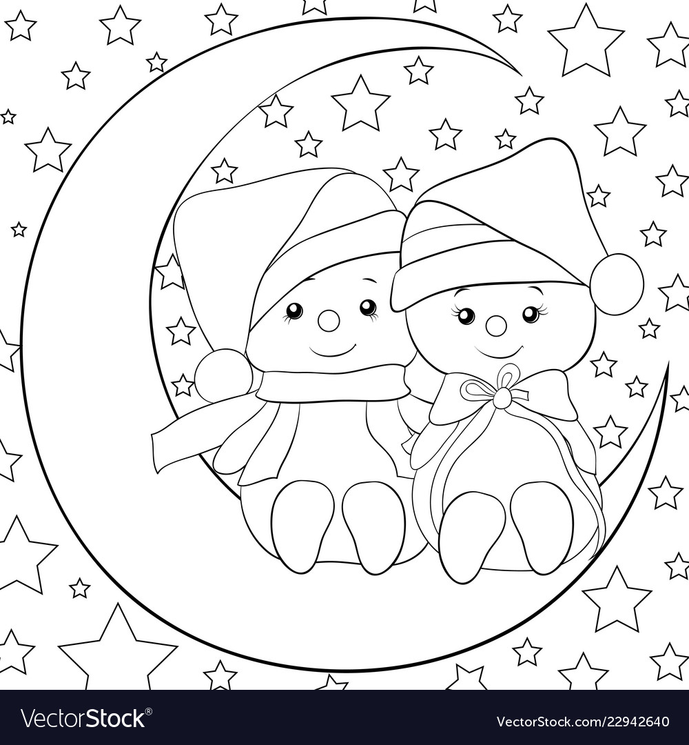 A coloring bookpage a pair of snowmen on the moon