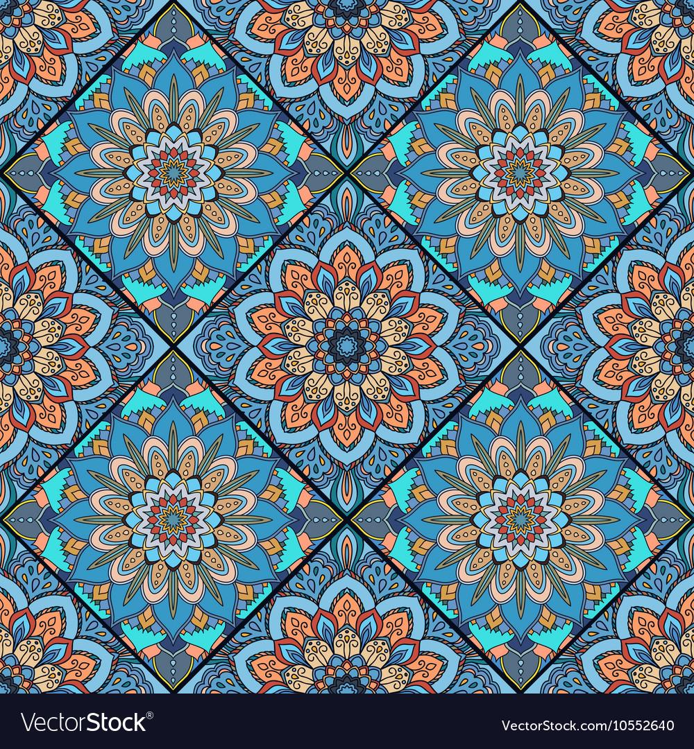 Boho tile flower squares colorful blue Royalty Free Vector