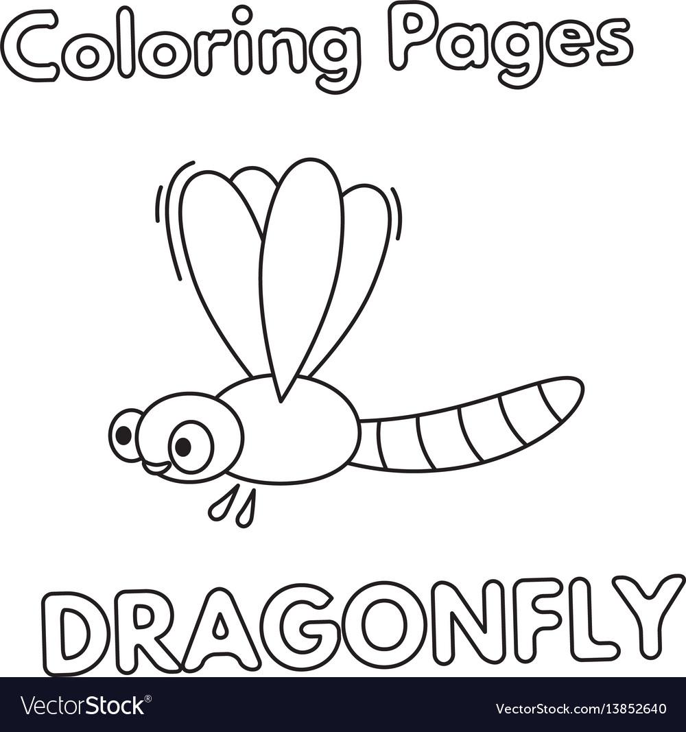 Cartoon Dragonfly Coloring Book Vector Image