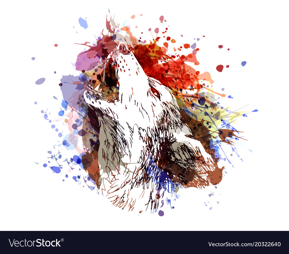 Color Of A Howling Wolf Royalty Free Vector Image