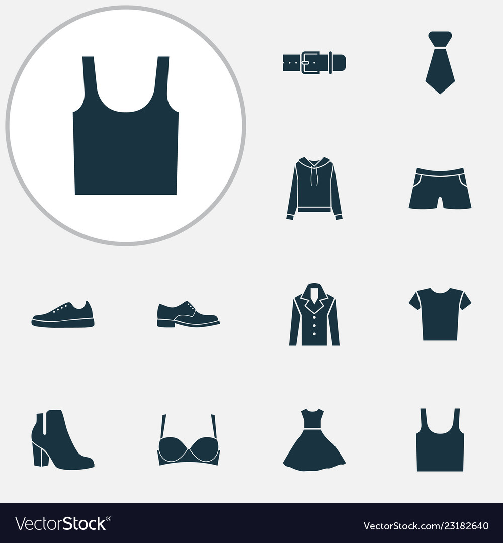 Dress icons set with evening gown gumshoes male