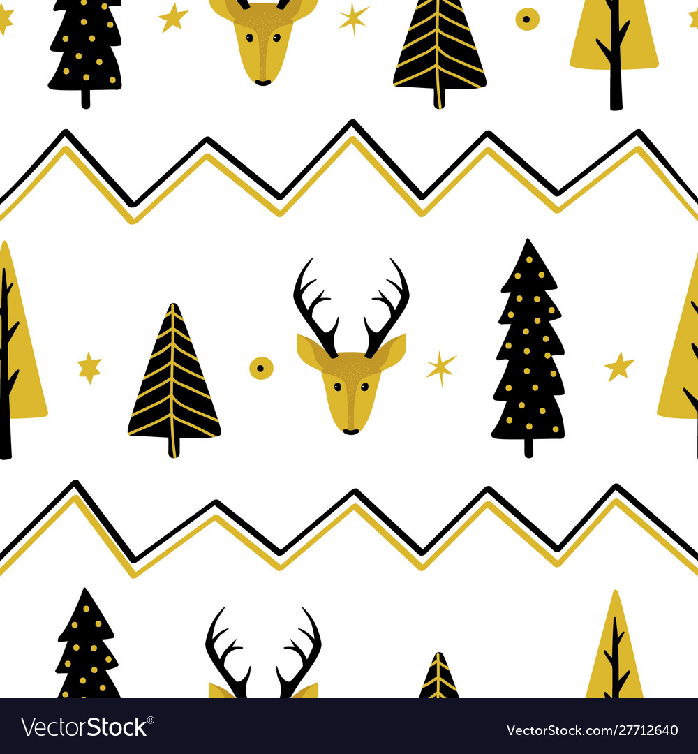 Festive seamless background with christmas trees