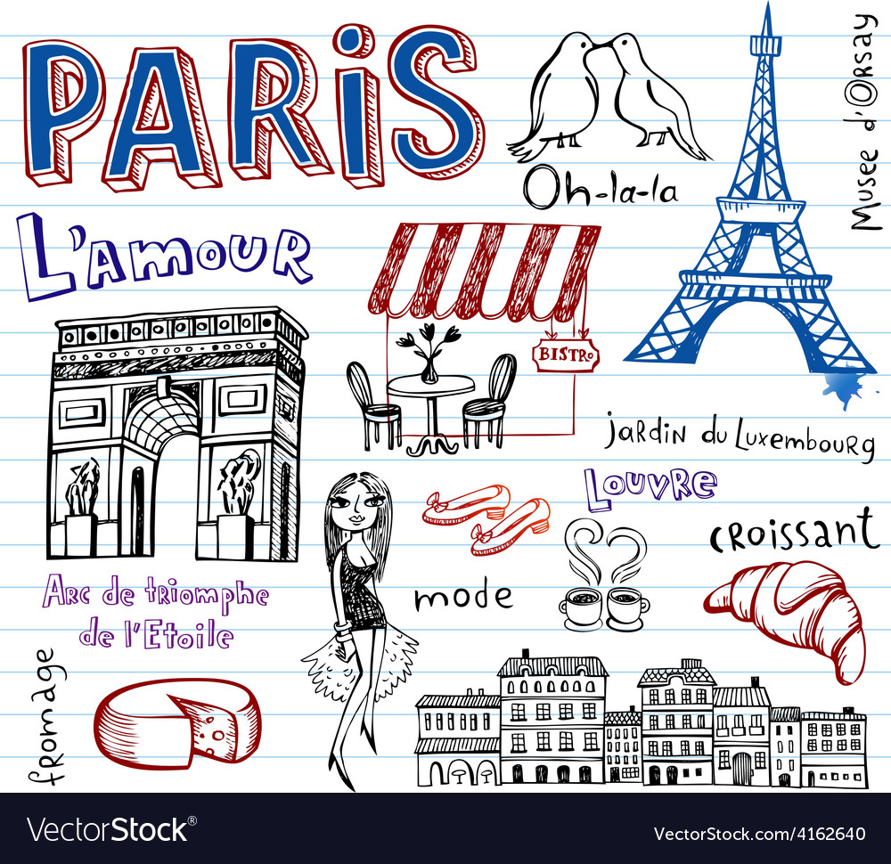 France Symbols As Funky Doodles Royalty Free Vector Image