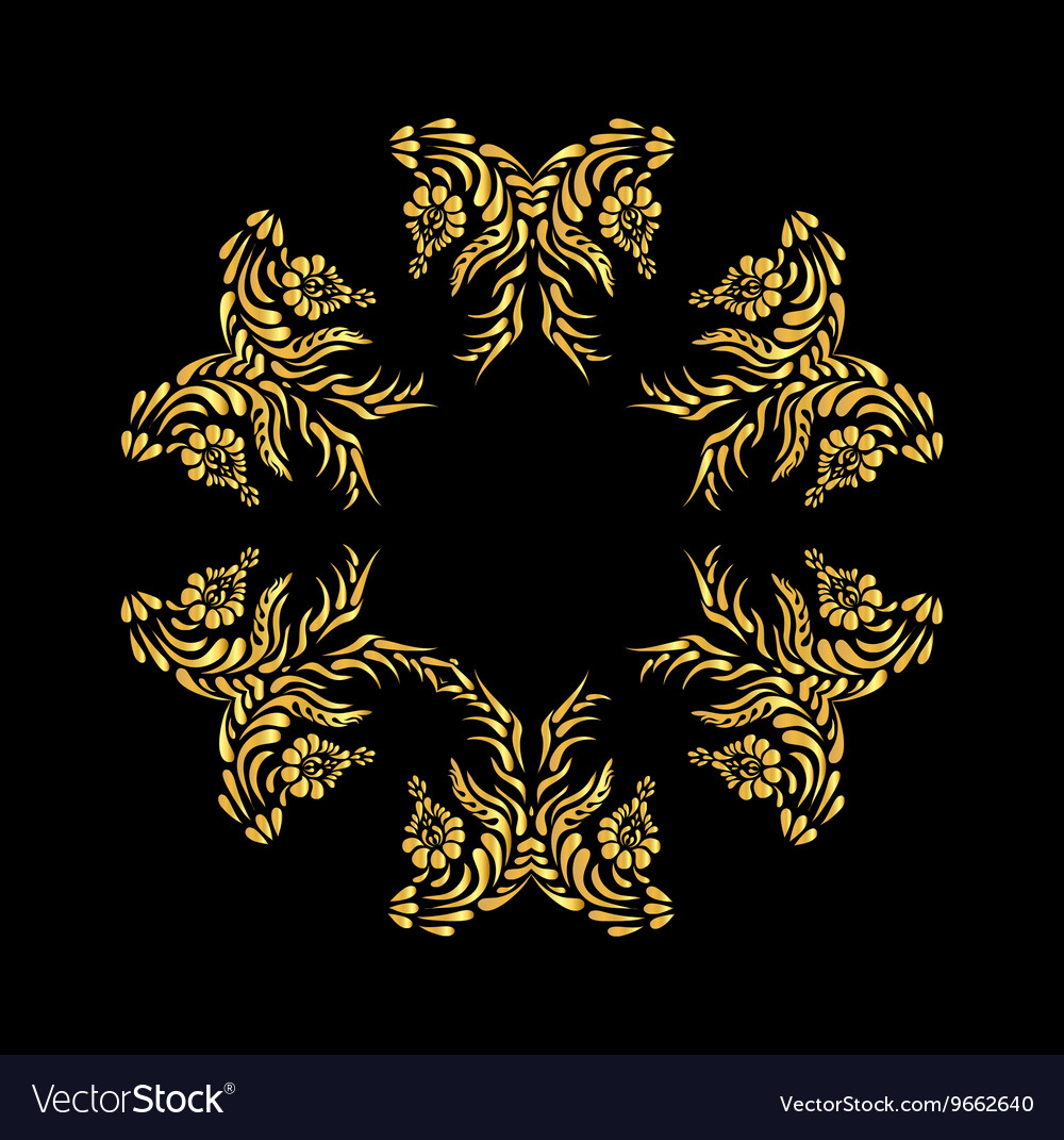 Golden floral pattern on black vector image