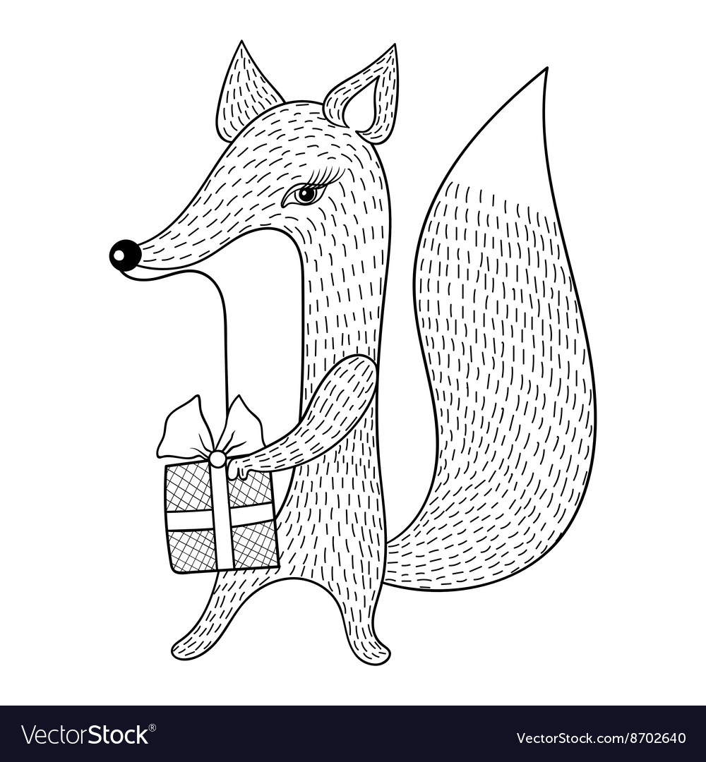 Hand drawn Fox with gift Doodle zentangle