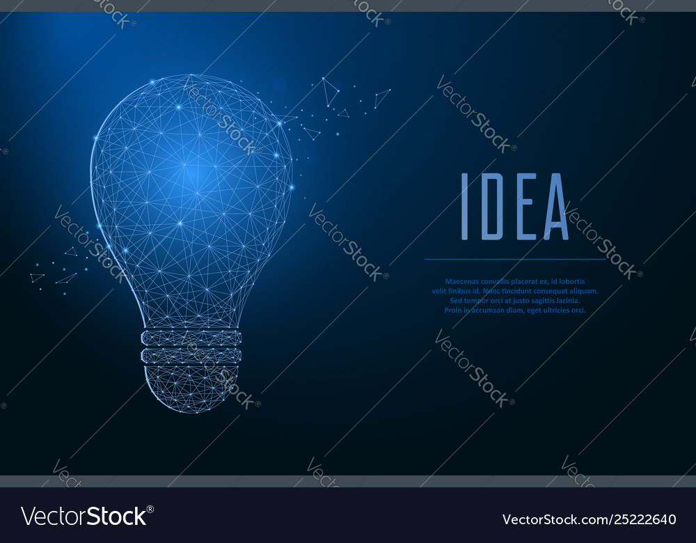 Light bulb made points and lines polygonal