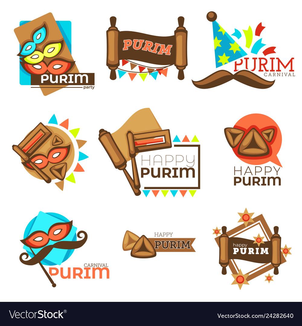 Purim carnival jewish holiday isolated icons mask