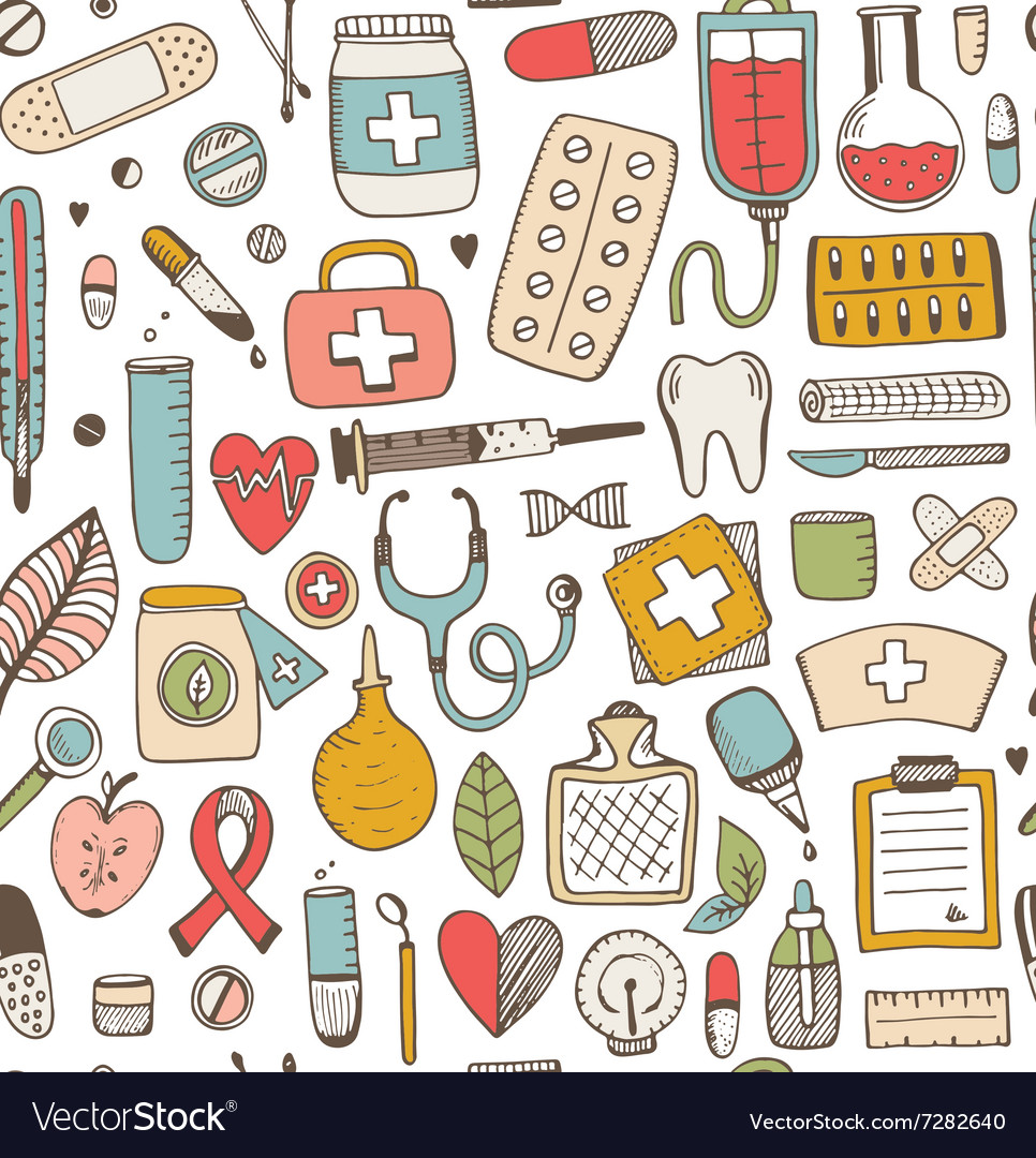 Seamless health care and medicine sketch pattern