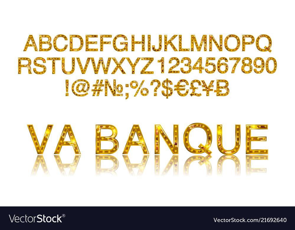 Vegas casino or retro broadway style night font