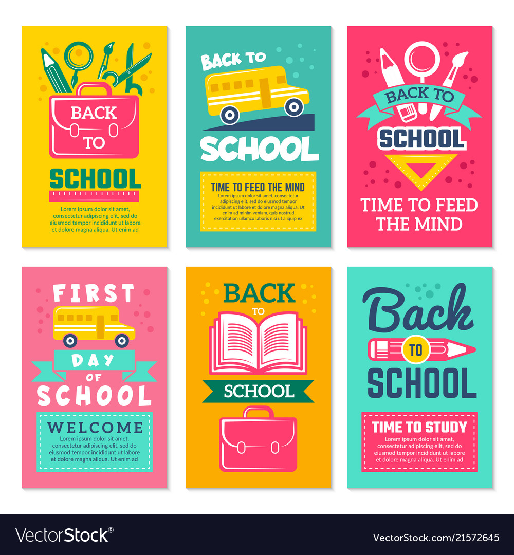 Swell Cards With Schools Symbols Back To School Cards Vector Image Funny Birthday Cards Online Fluifree Goldxyz