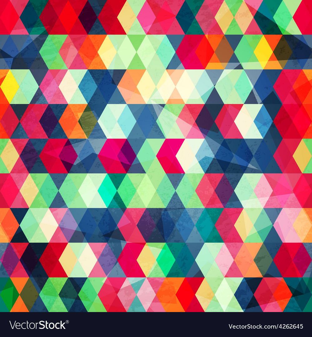 Colored cubes seamless with grungr effect vector image