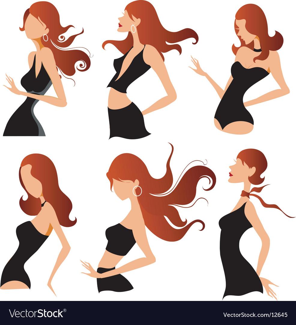 Fashion pose designs vector image
