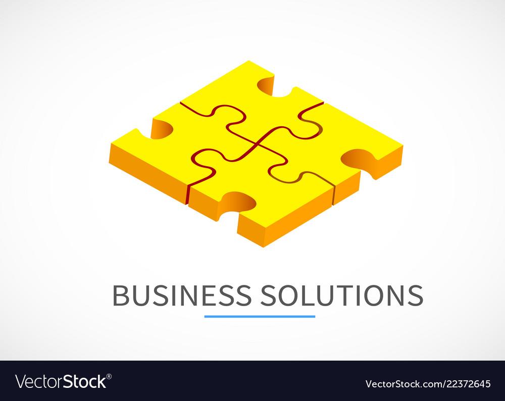 Four piece puzzle business solution concept