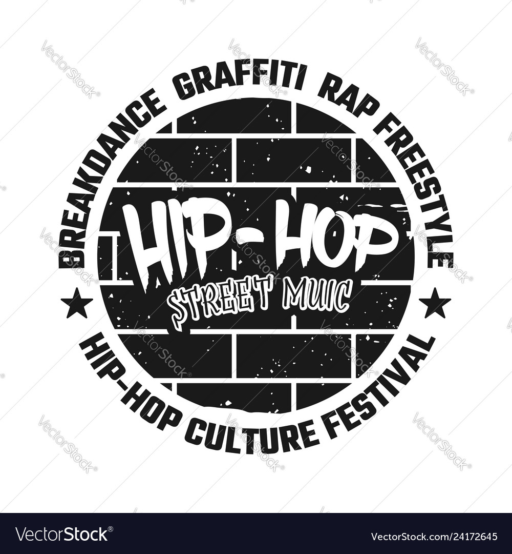 Graffiti on brick wall black emblem