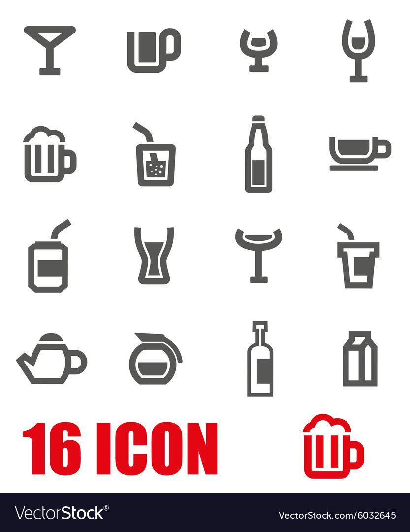 Grey beverages icon set vector image