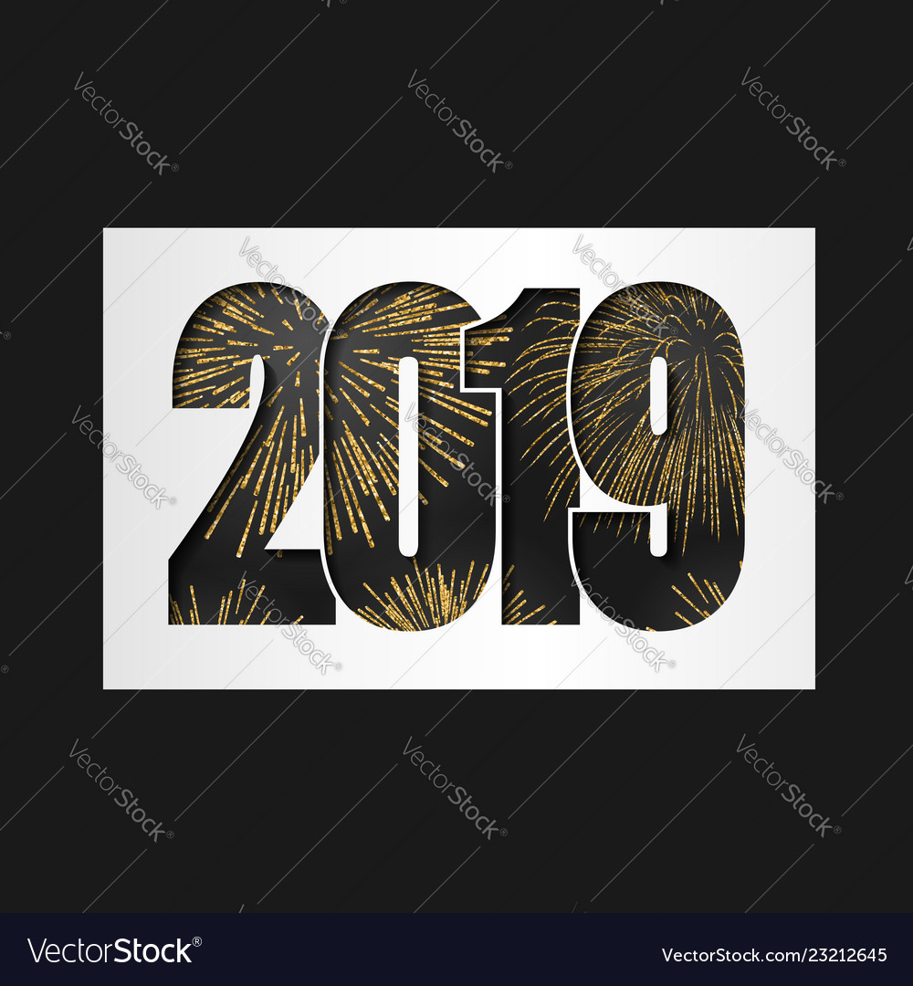 Happy new year card black number 2019 with gold
