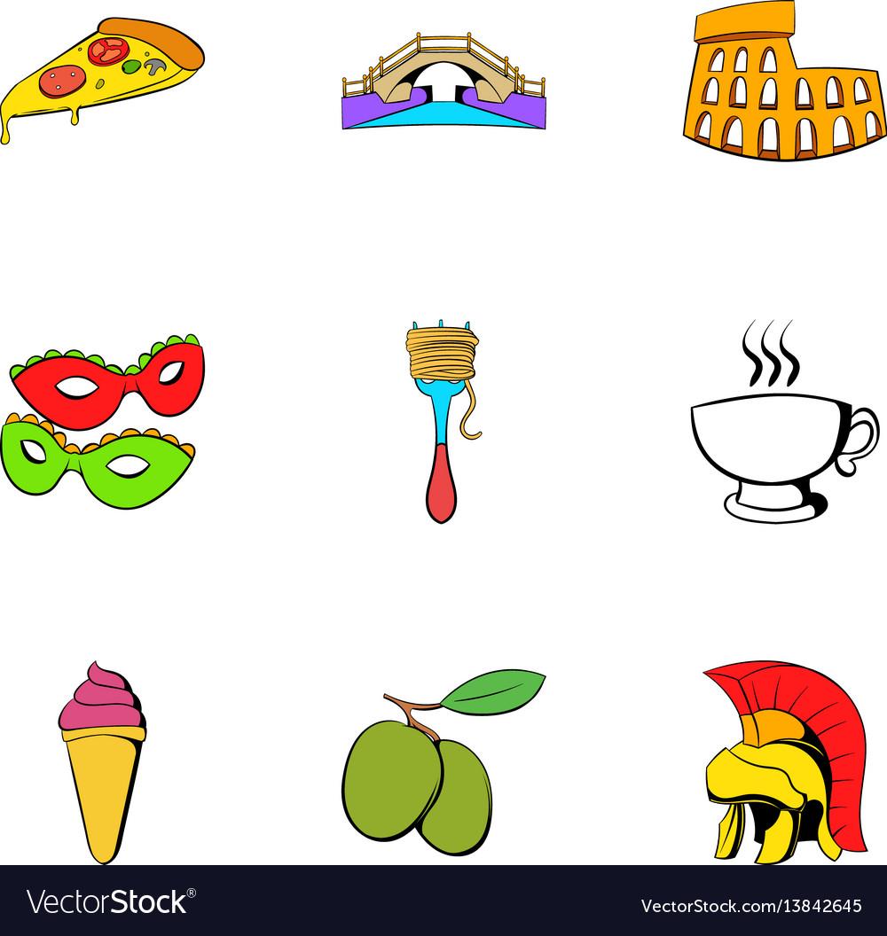 Italy icons set cartoon style