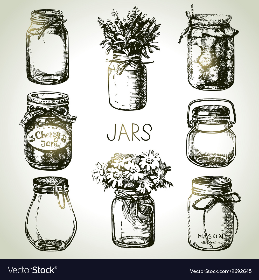 Rustic mason and canning jars hand drawn set