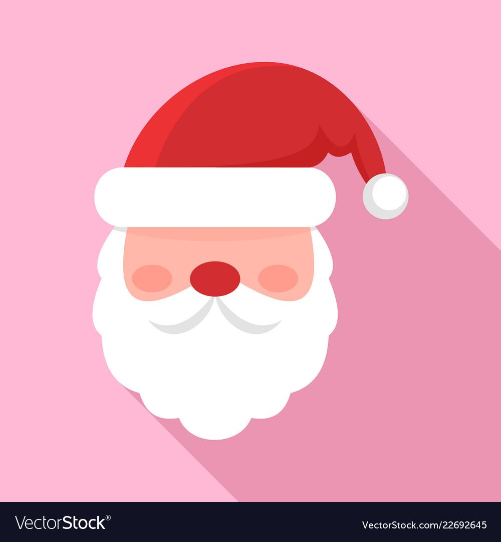 Santa face icon flat style