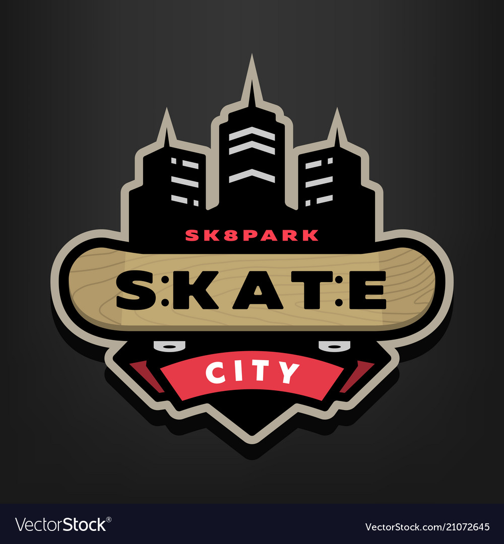 Skateboarding park logo emblem on a dark