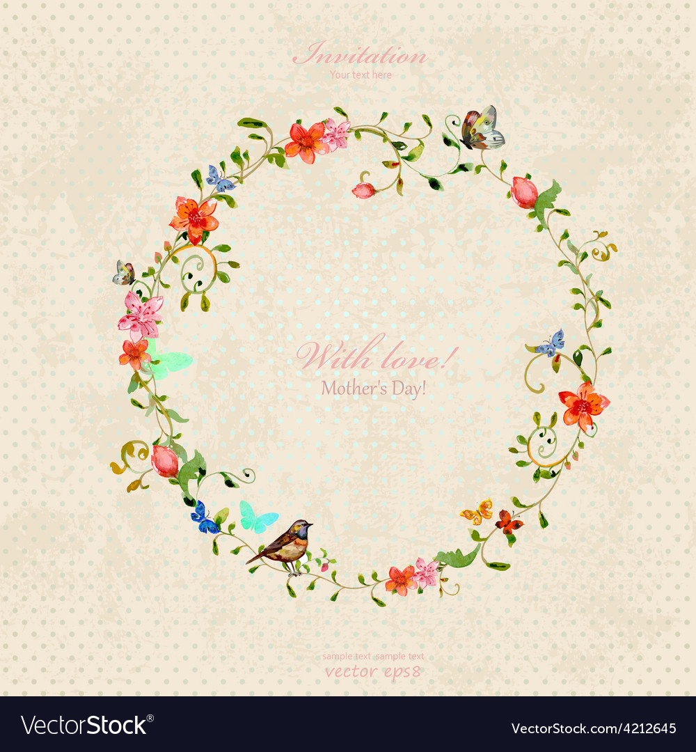 Vintage wreath with foliate ornament and flowers