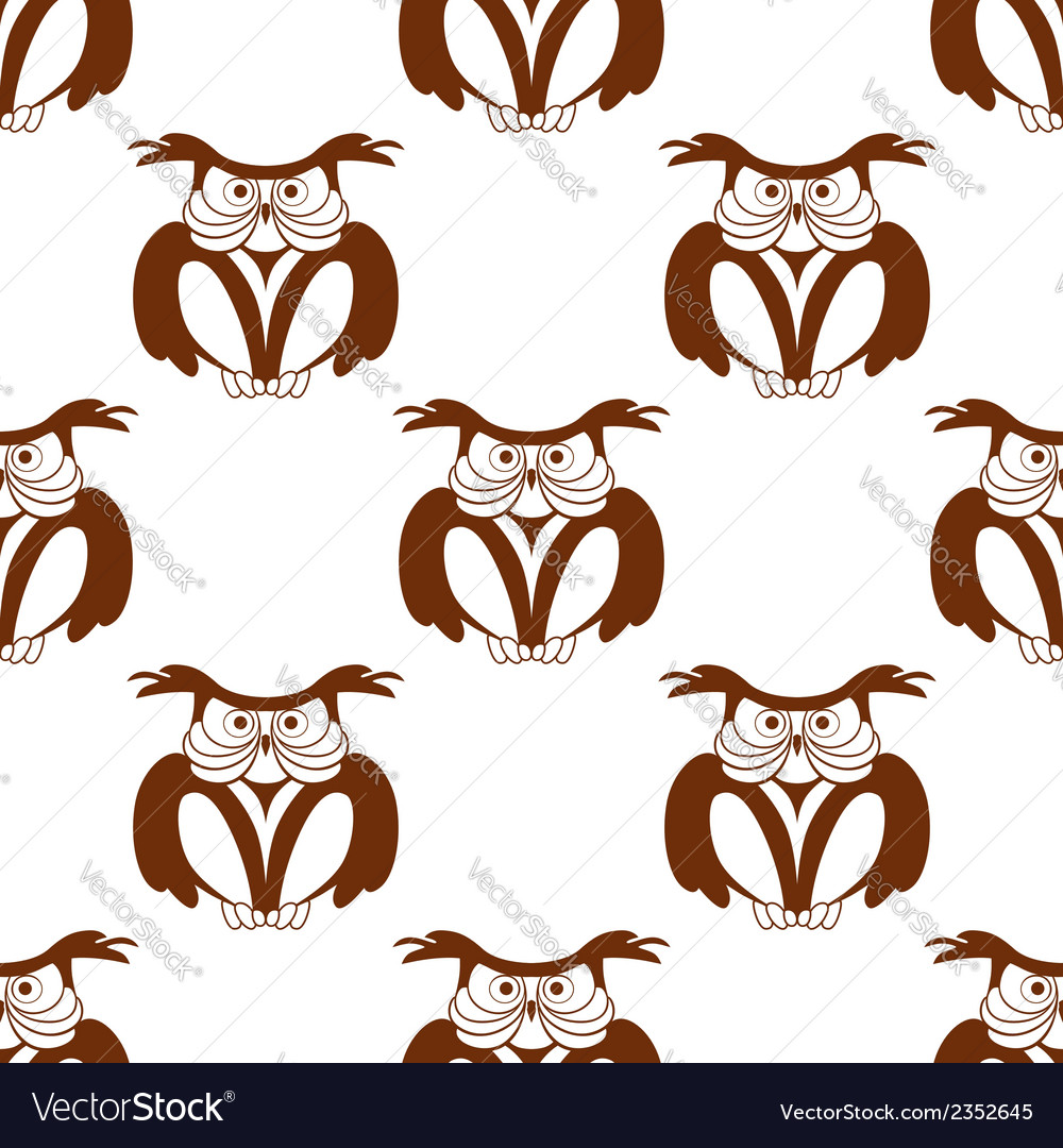 Wise old owl seamless background pattern
