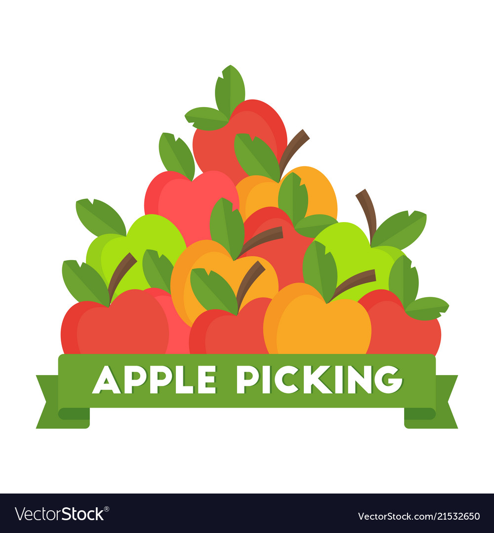 Apple picking logo natural products farm market